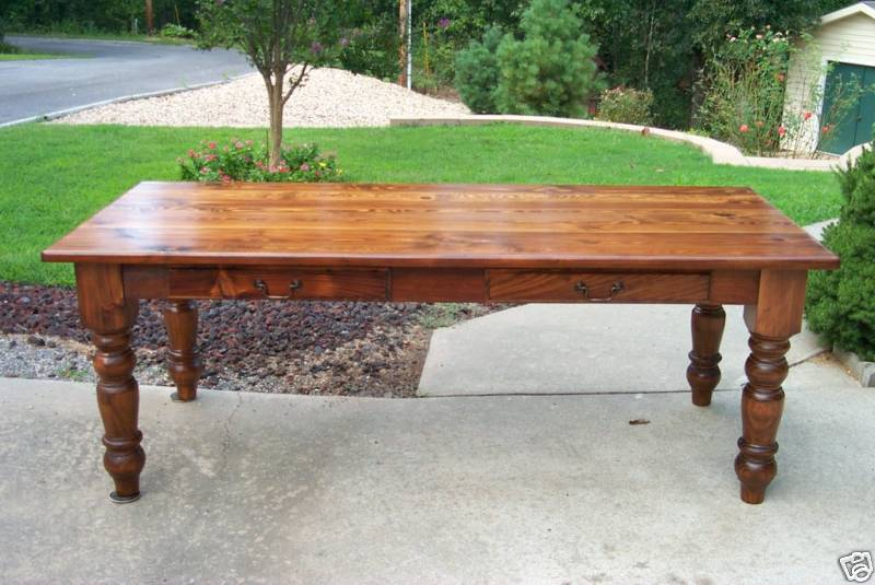 Heart pine harvest table desk rustic handcrafted for Rustic farm tables for sale