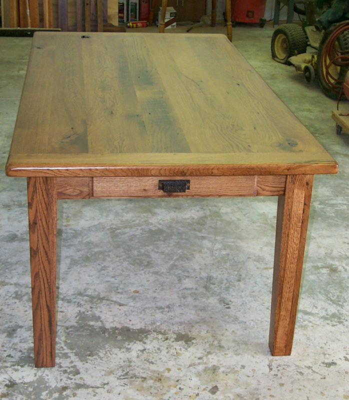 Oak Harvest Dining Table Rustic Primitive Country Farmhouse Reclaimed