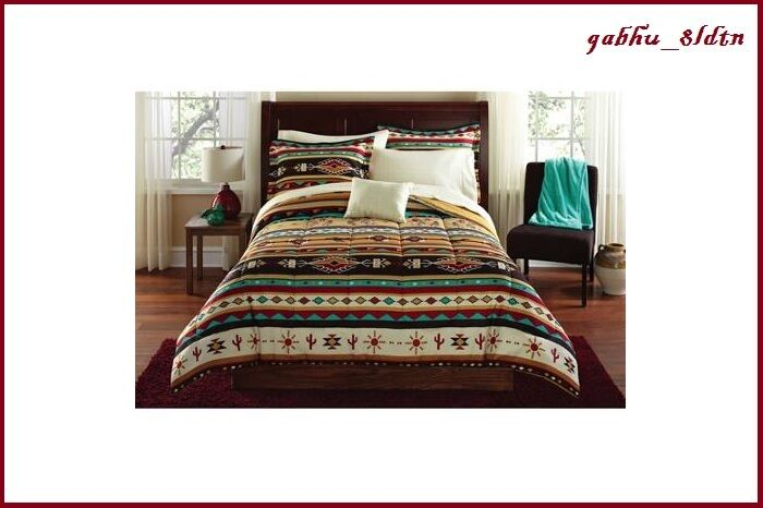 Southwest Aztec Comforter Set Queen King 8pc Brown Bedding