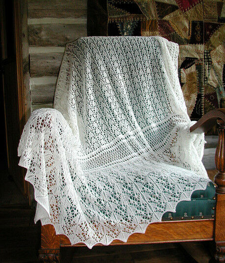 Knitting Pattern For Bay Shawl : Traditional Lace Edge Baby Shawl 2ply Knitting Pattern eBay