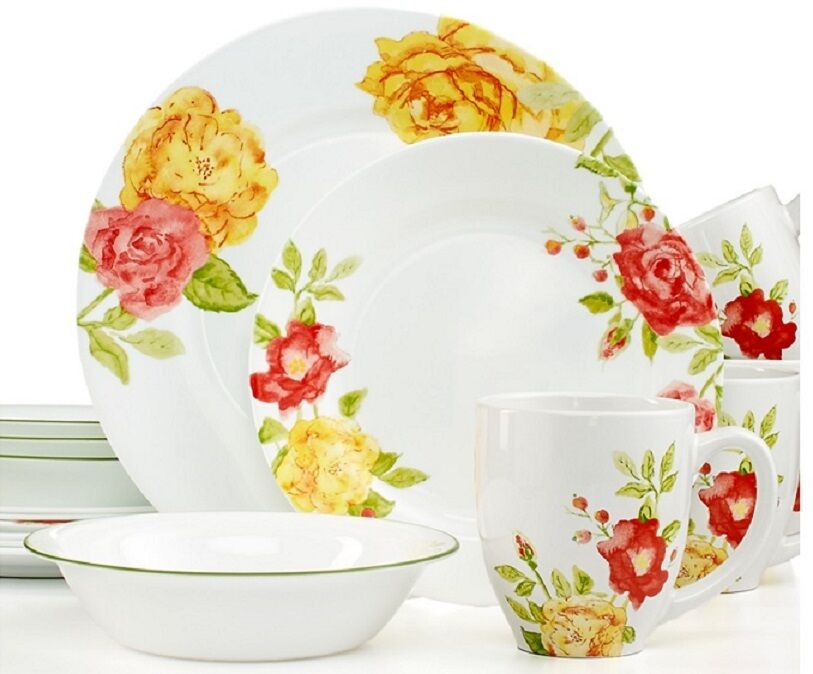 corelle boutique emma jane 32 piece dinnerware set service for 8 free