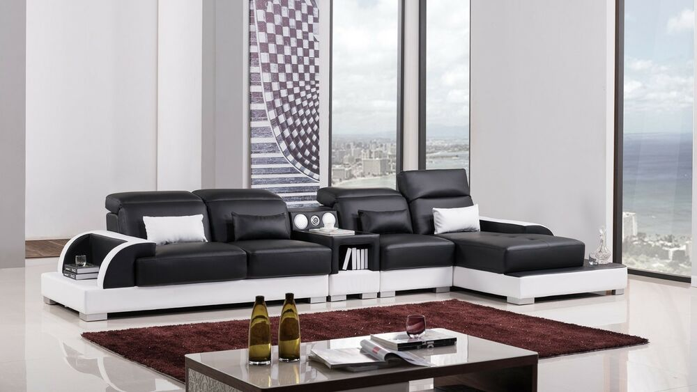 modern black white leather sectional sofa chaise chair set bluetooth