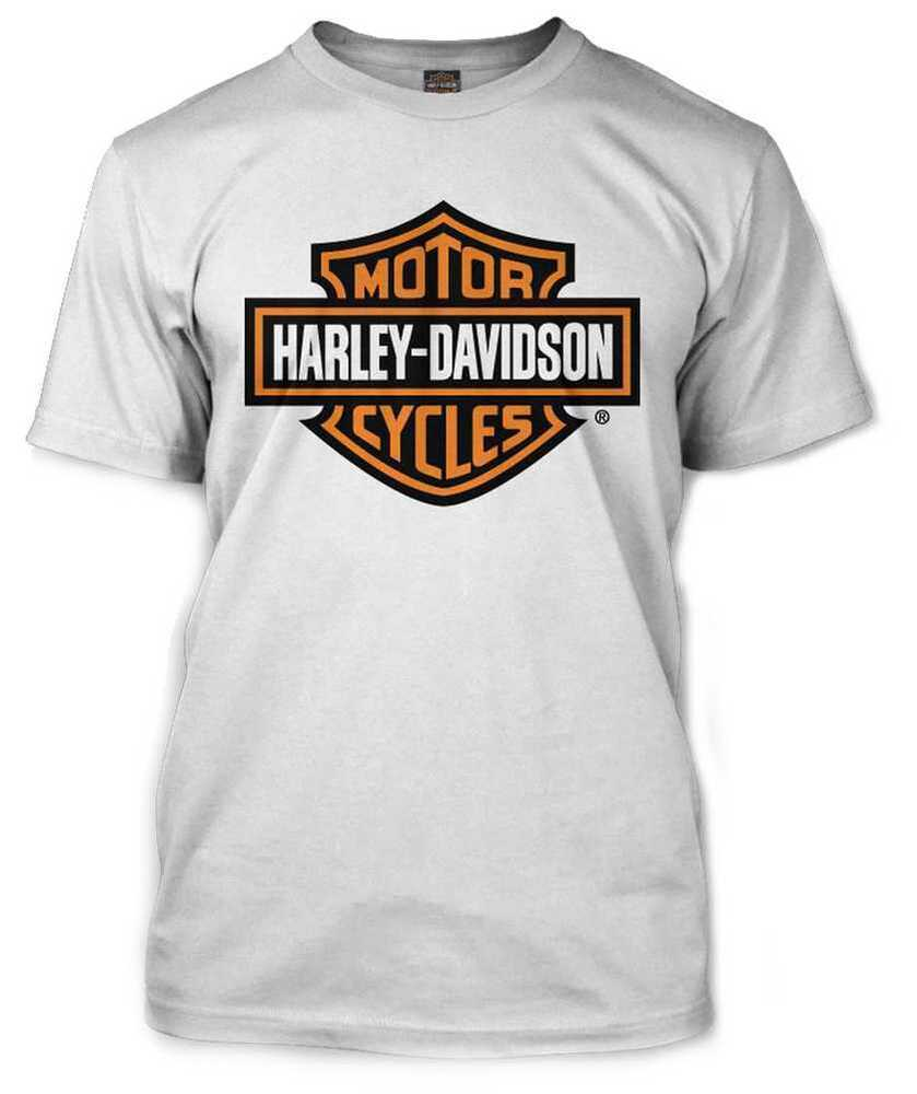 harley davidson men 39 s orange bar shield white t shirt. Black Bedroom Furniture Sets. Home Design Ideas