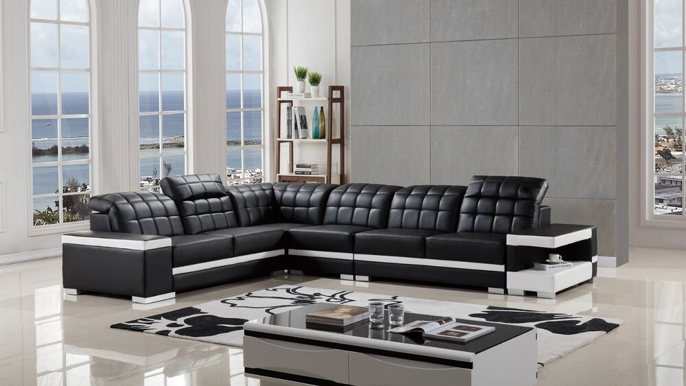 Contemporary Black White Leather Sectional Sofa Chaise