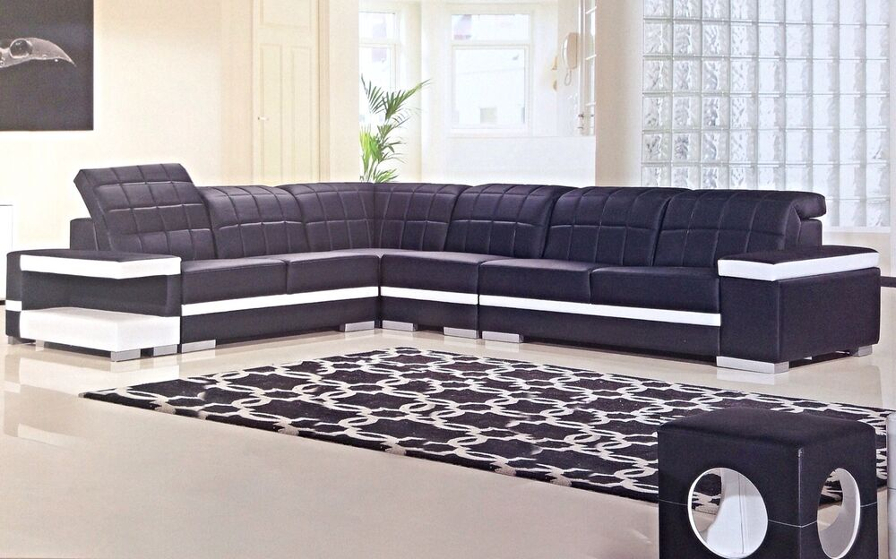 contemporary black white leather sectional sofa chaise chair corner