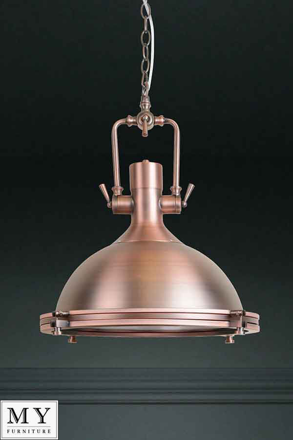 Anton Copper Large Industrial Retro Pendant Kitchen