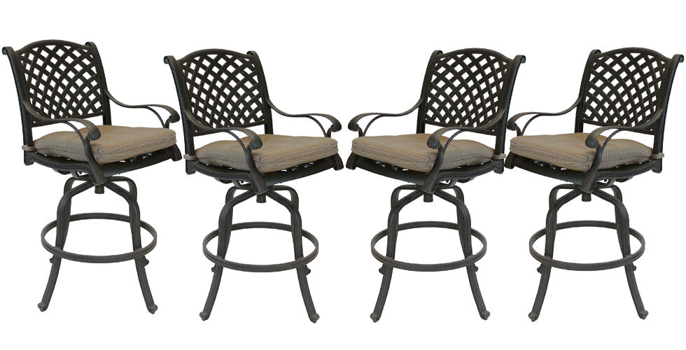 Patio bar stools Set of 4 Outdoor Furniture Nassau Swivel  : s l1000 from www.ebay.com size 980 x 500 jpeg 75kB