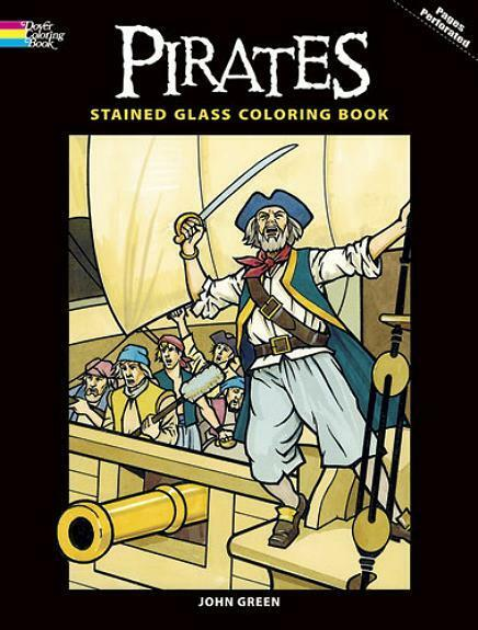 ADULT COLORING BOOK PIRATES STAINED GLASS PERFORATED