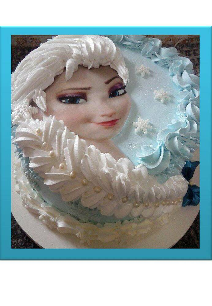 Edible Cake Images Elsa : Disney Frozen Elsa Braid Face Edible Cake Topper (Round or ...