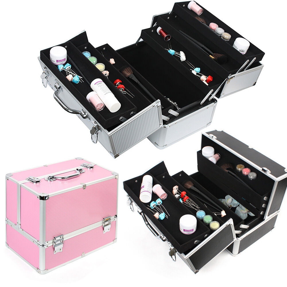 extra large cosmetic box vanity case make up nail jewelry storage beauty case uk ebay. Black Bedroom Furniture Sets. Home Design Ideas