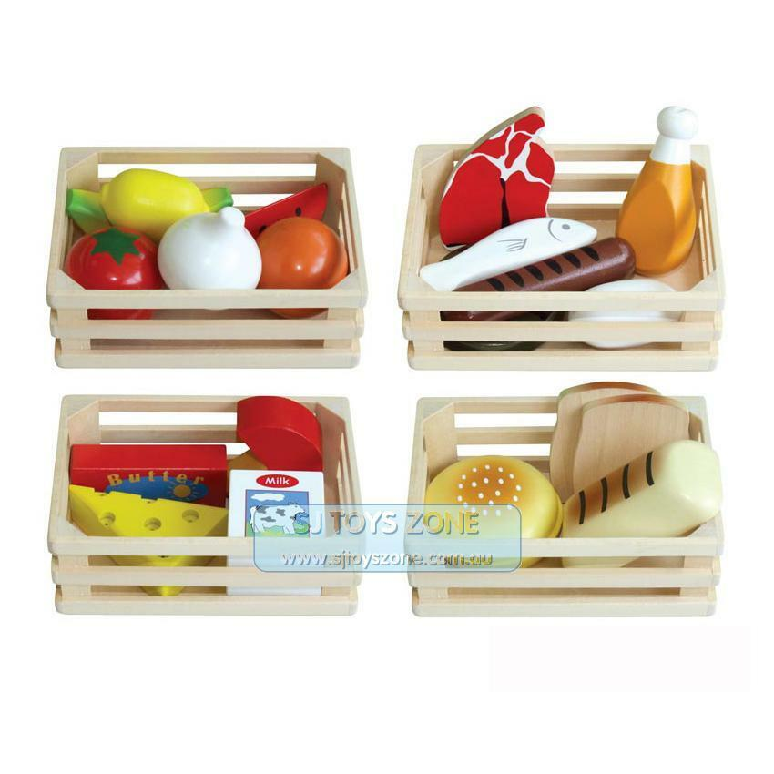 wooden set 4 food box 20 pcs bread fruit milk pretend role. Black Bedroom Furniture Sets. Home Design Ideas