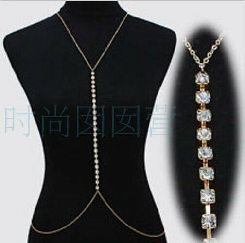 Celeb Rhinestones Bikini Belly Waist Body Chain Harness ...