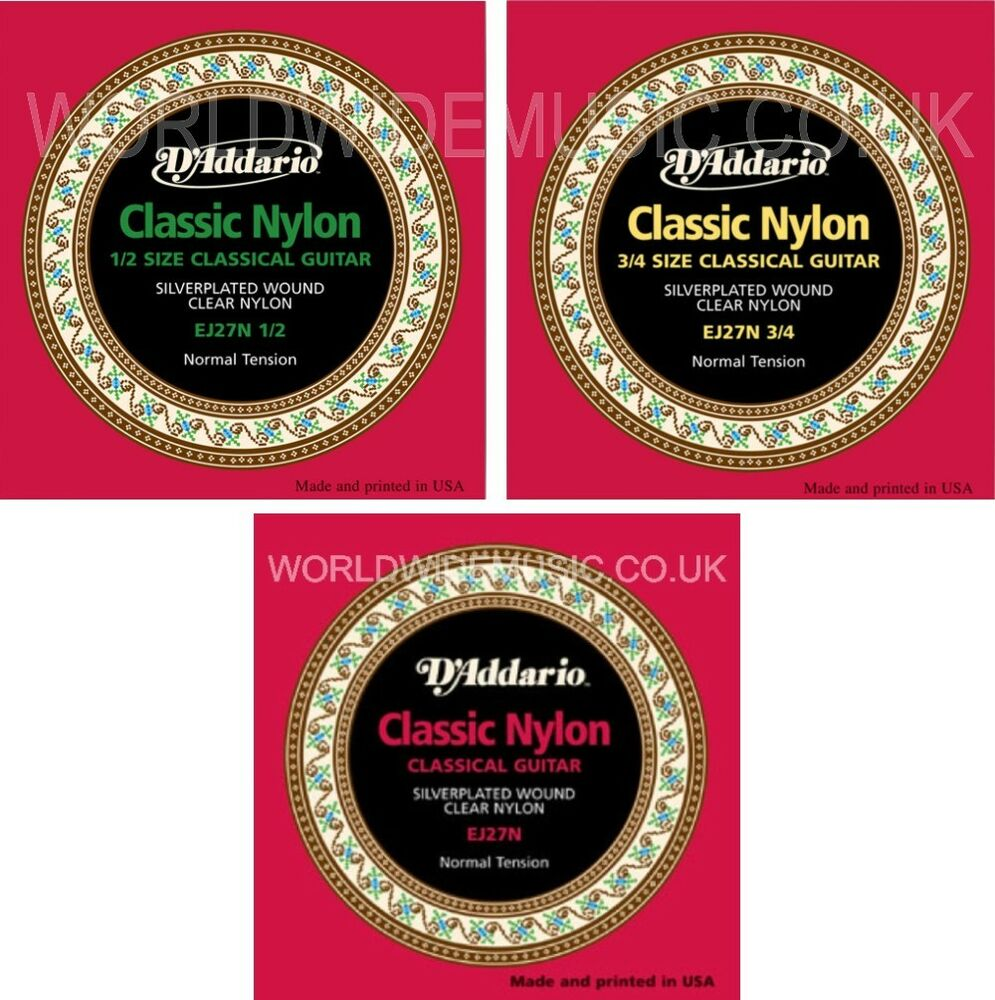 d 39 addario ej27n classic nylon guitar strings normal tension with choice of size ebay. Black Bedroom Furniture Sets. Home Design Ideas