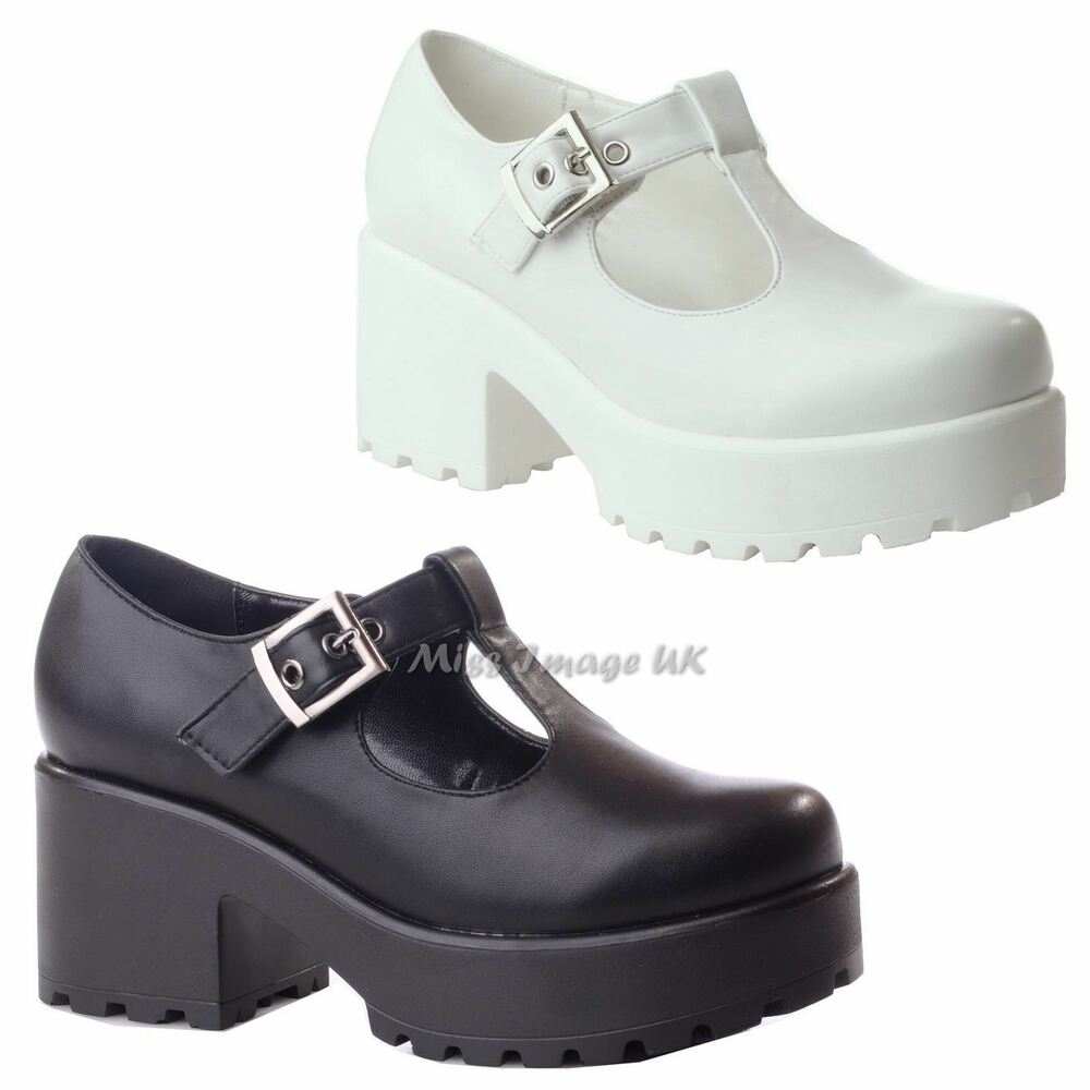3342d0a0bf0 Details about NEW LADIES WOMENS CHUNKY MID BLOCK HEEL PLATFORM T BAR CUT OUT  BUCKLE SHOES SIZE