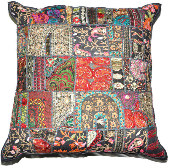 20x20 XL Black Decorative Throw Pillow cover floor pillow patchwork pillow cover eBay