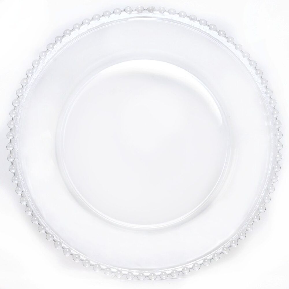 8 Pc 12 Quot Glass Charger Plates Clear Beaded Rim Wedding