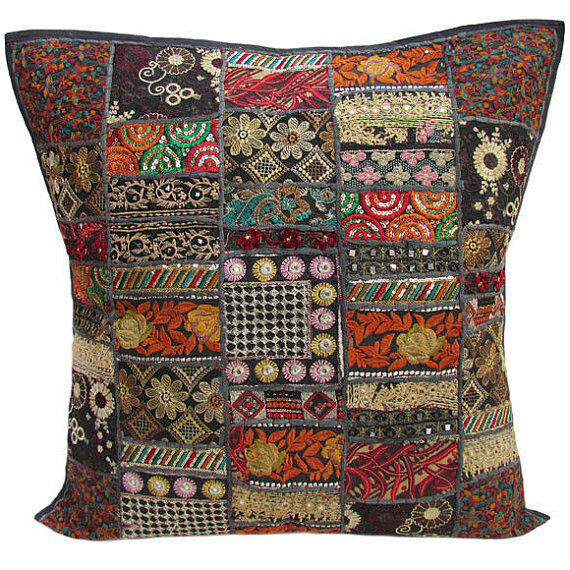 Embroidered Pillow Cotton Cushion Cover Decorative Indian Pillows Ebay