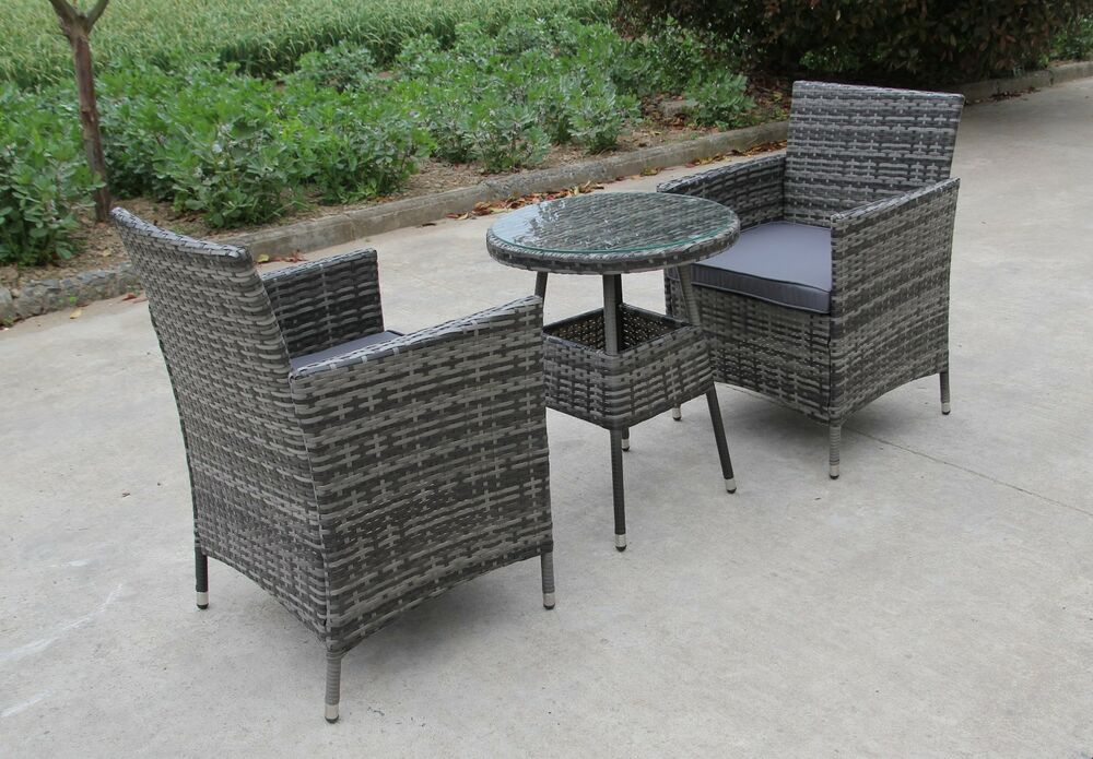Rattan 2 Two Seater Chairs Dining Wicker Bistro Outdoor