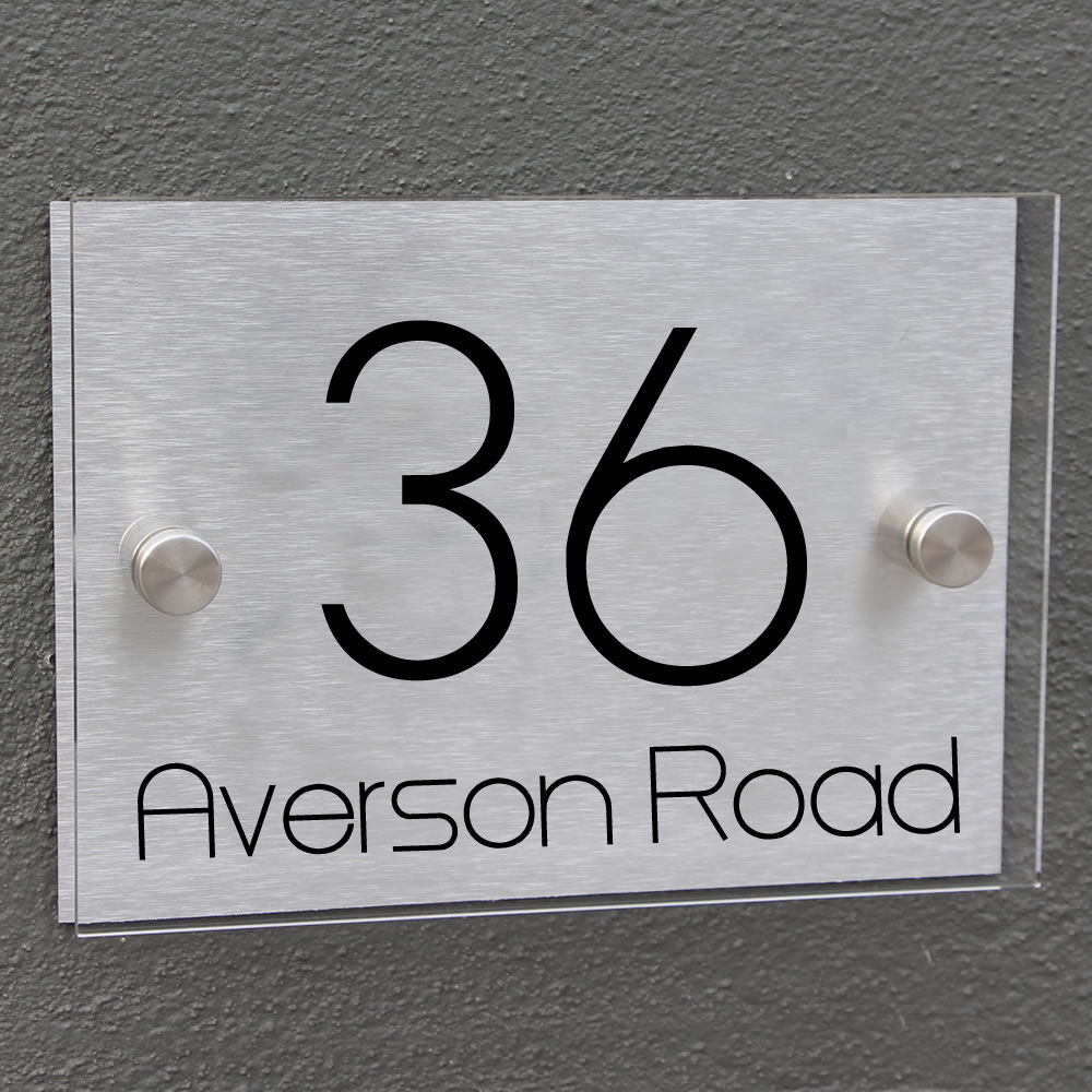 house number personalized door sign plaque aluminium glass effect acrylic modern ebay. Black Bedroom Furniture Sets. Home Design Ideas