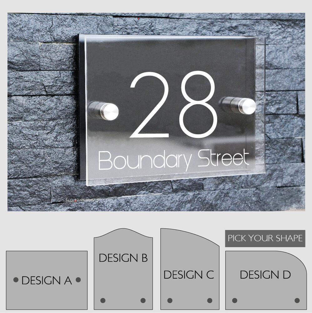 Personalized modern house number door sign plaque street for Modern house number plaques