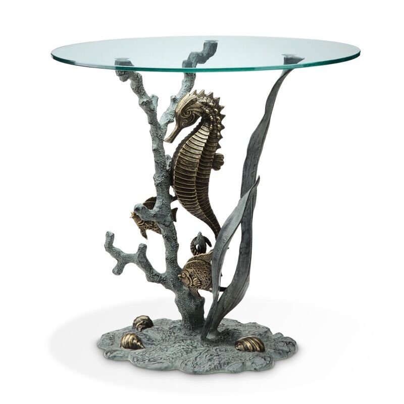 Sea Horse Accent Glass Table Ocean Coastal Nautical