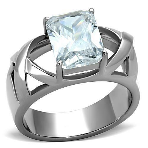 stainless steel rectangle emerald cut cz solitaire