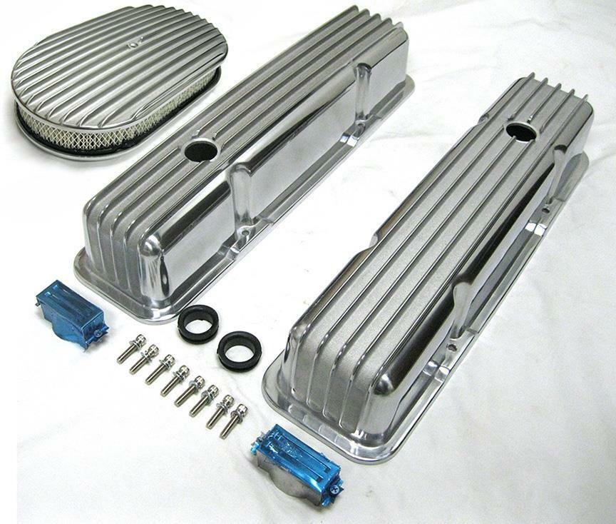 58-86 SBC Chevy Tall Polished Aluminum Finned Valve Covers