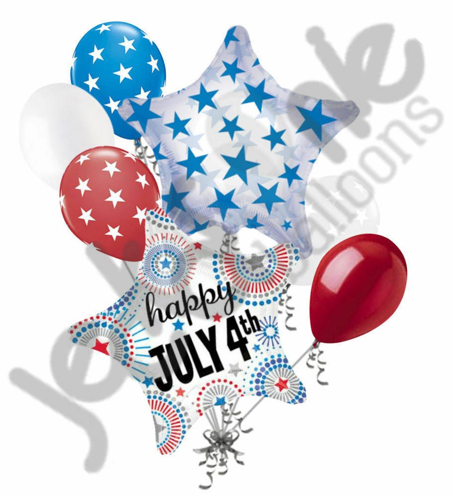 7 pc happy 4th of july balloon bouquet decor red white for 7 star balloon decoration