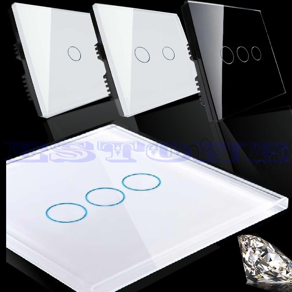 Switched Wall Light Crystal : Crystal Glass Panel Smart Touch Wall Control Light Switch 1/2/3 Gang 1 Way eBay