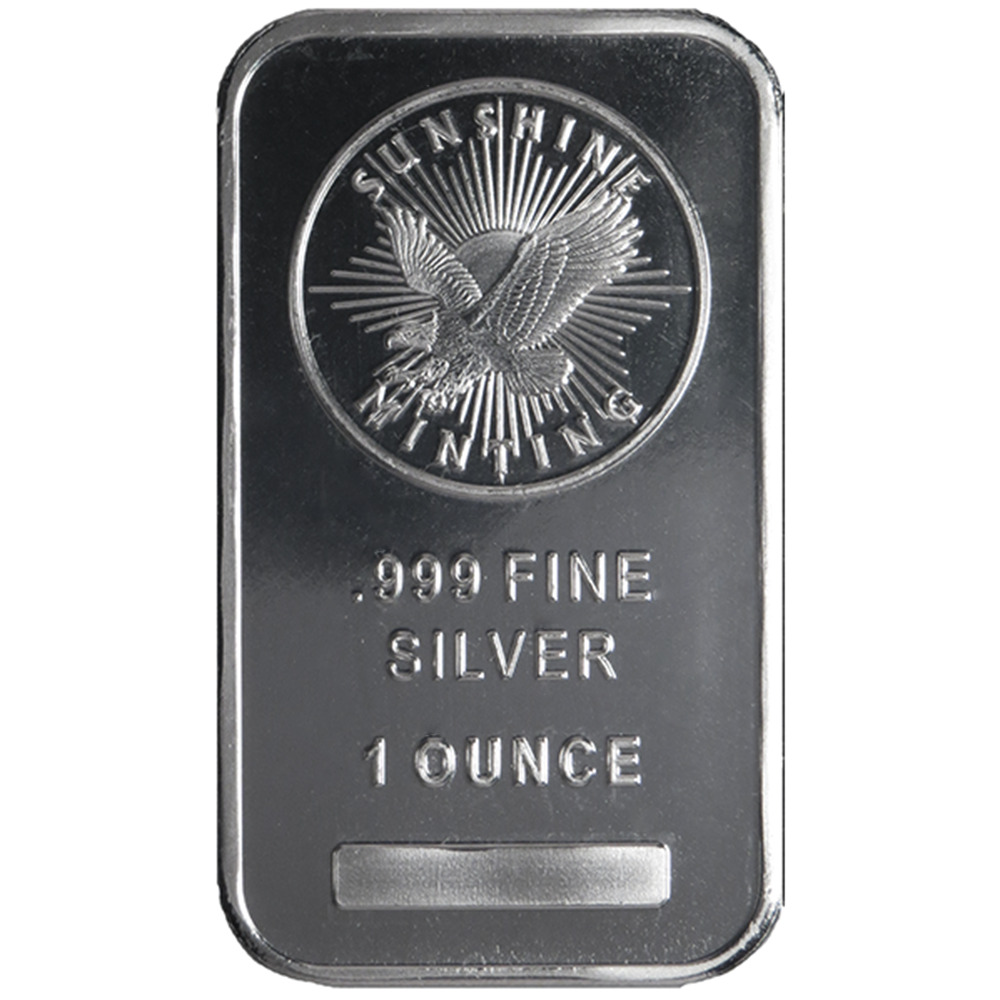1 Troy Oz Sunshine Mint 999 Fine Silver Bar Mint Mark Si