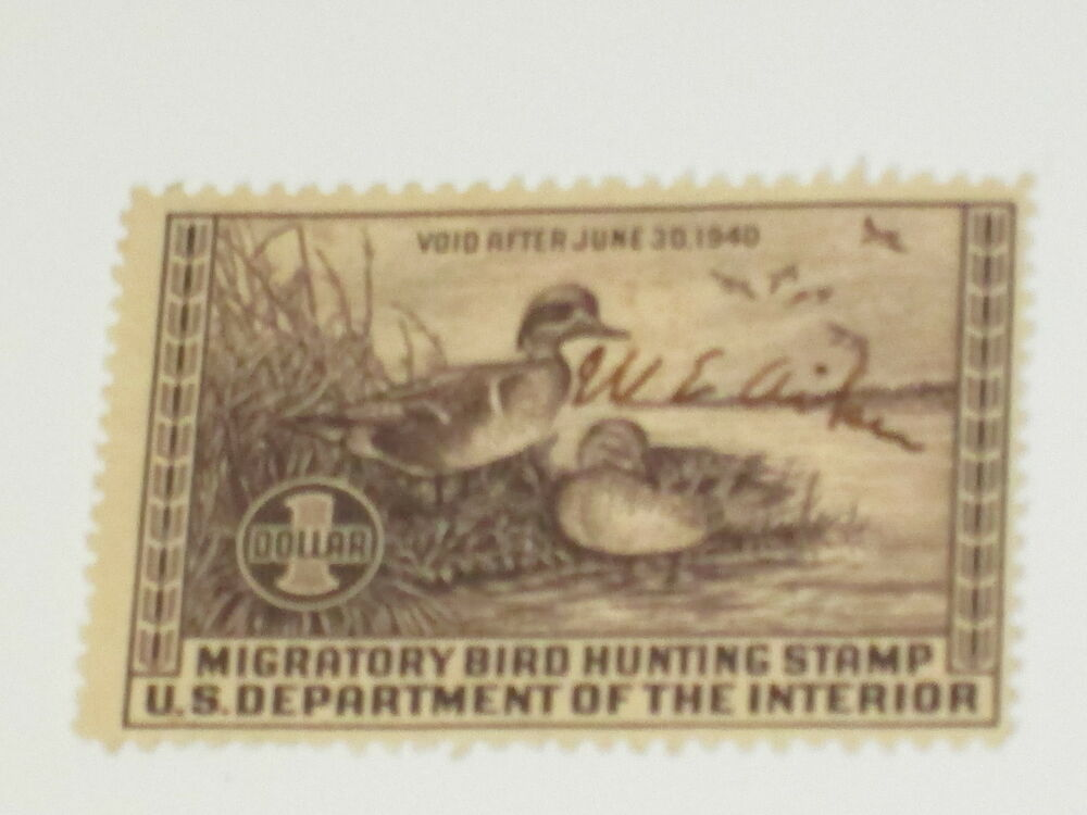 us stamps rw 6 federal duck stamp 1939 used