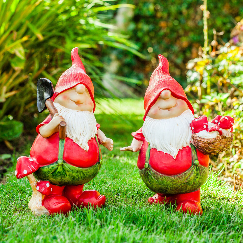 Gnome In Garden: Garden Gnomes Max & Mason The Pair Of Red Mushroom Picking