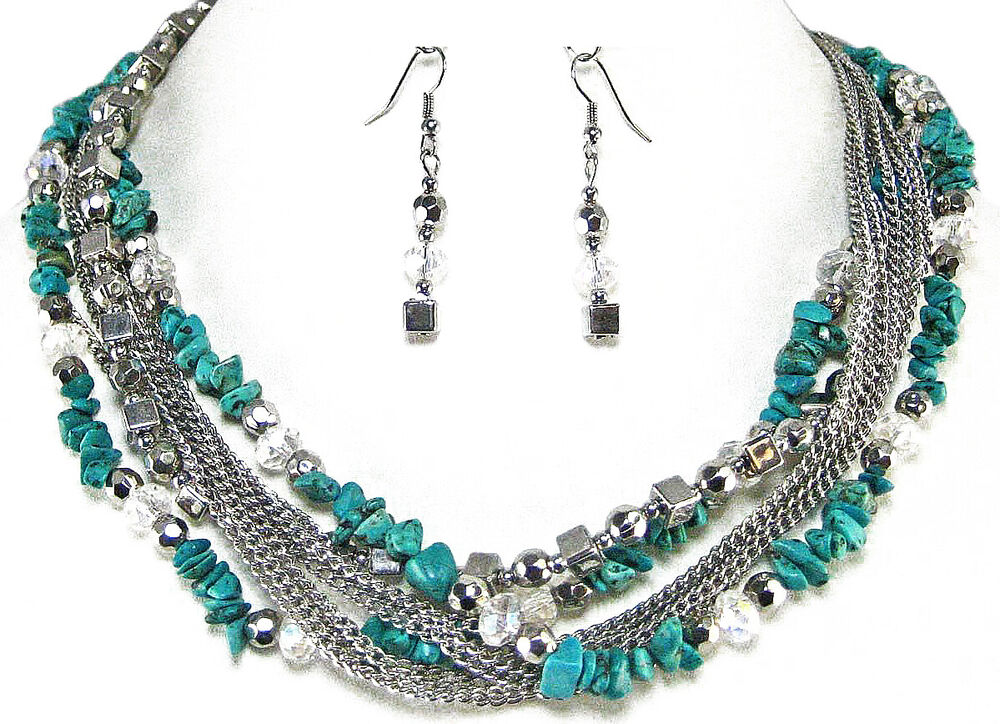 Turquoise Silver Necklace Earrings Layered Shell Bead