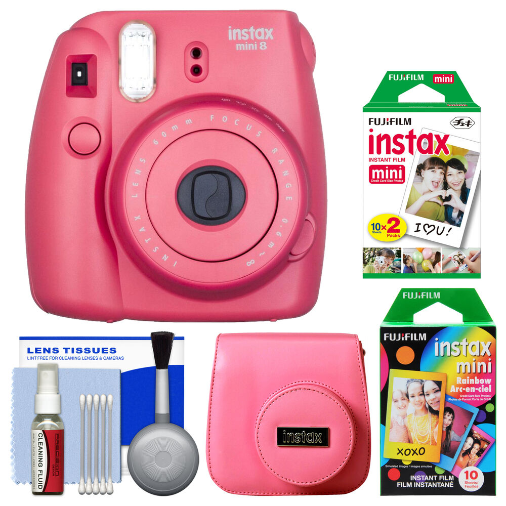 fujifilm instax mini 8 instant film camera raspberry with. Black Bedroom Furniture Sets. Home Design Ideas