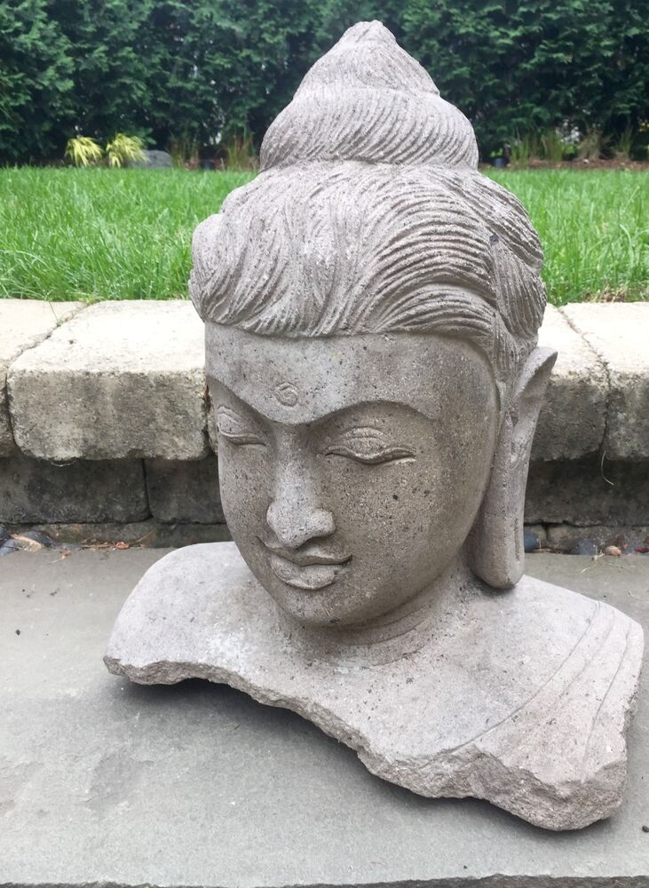 Carved lava stone buddha head japanese garden statue