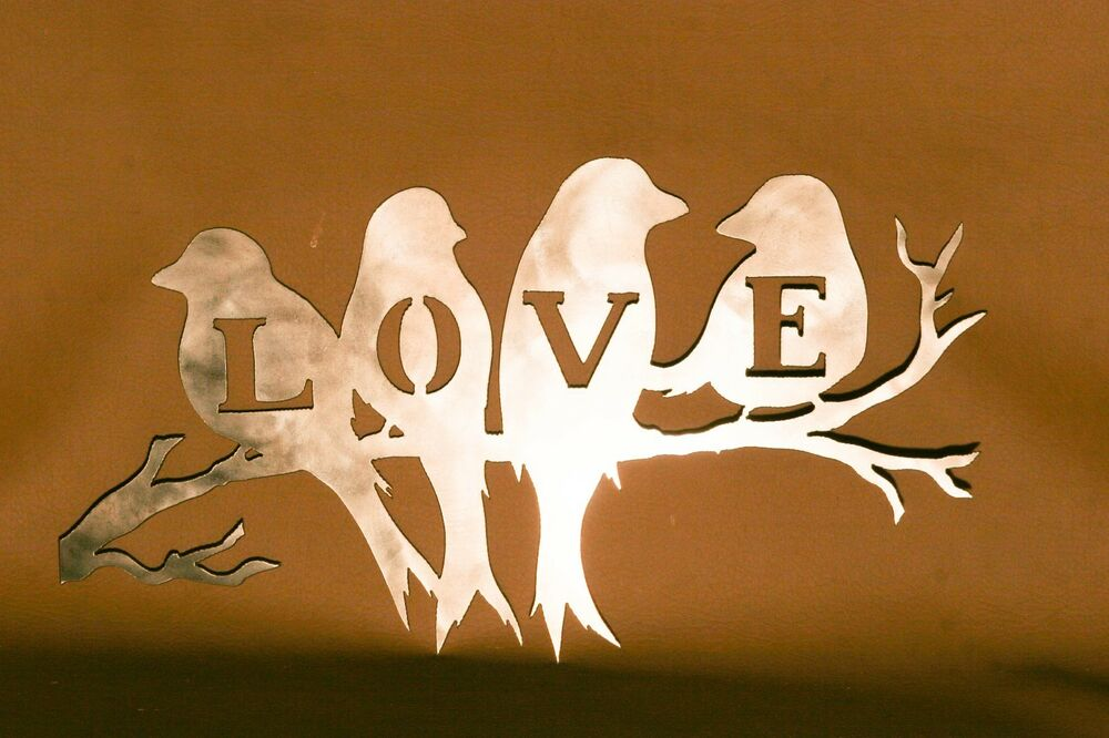 Decorative Love Birds Plasma Cut Metal Wall Art Hanging