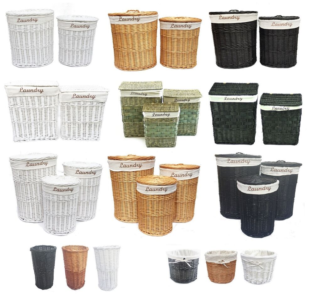 brown black white wicker oval round rectangle laundry basket with linning ebay. Black Bedroom Furniture Sets. Home Design Ideas