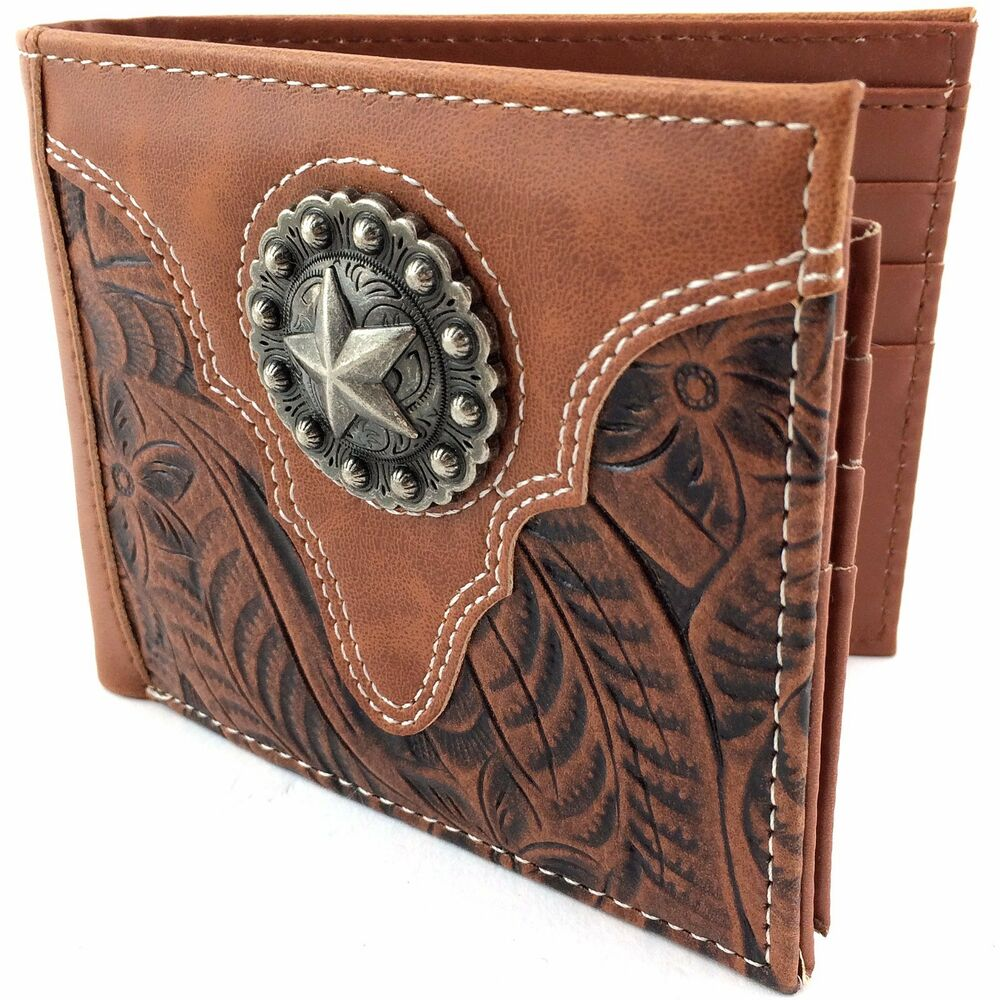Premium western cowboy mens wallet brown leather with star