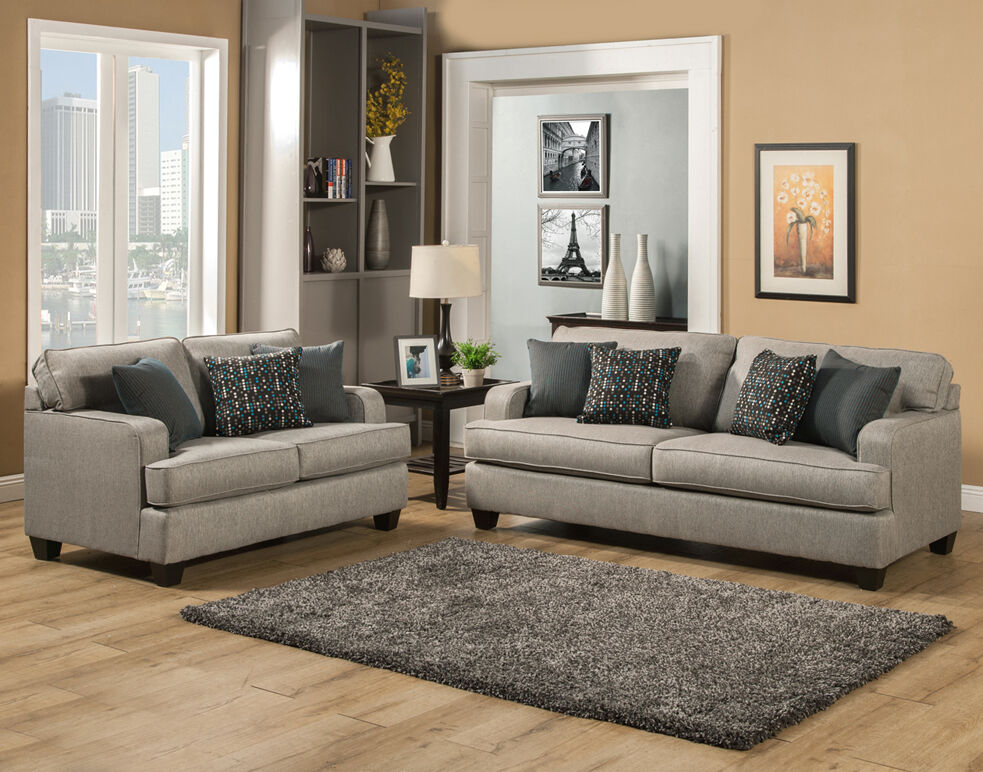 Beautiful elegant modern comfortable grey gray fabric sofa loveseat set made usa ebay - Wandspiegel groay modern ...