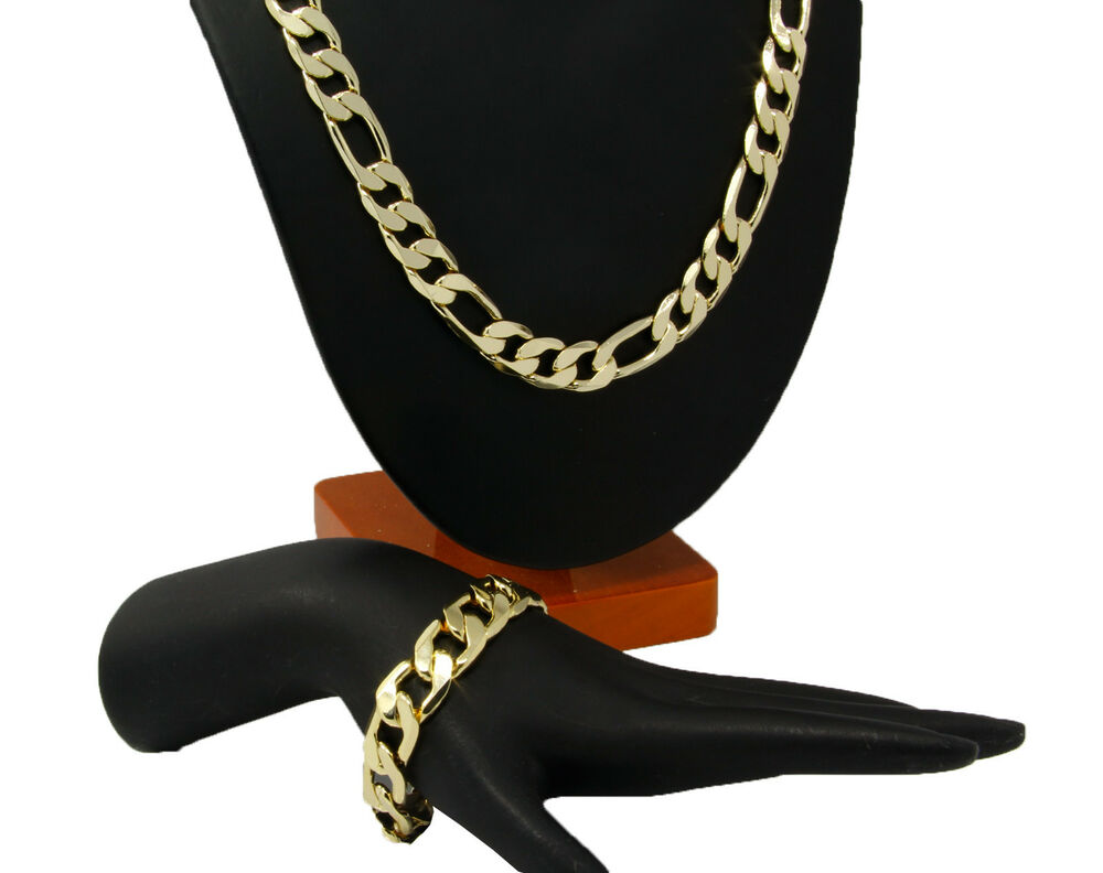 mens 14k gold plated 12mm italian figaro link chain. Black Bedroom Furniture Sets. Home Design Ideas