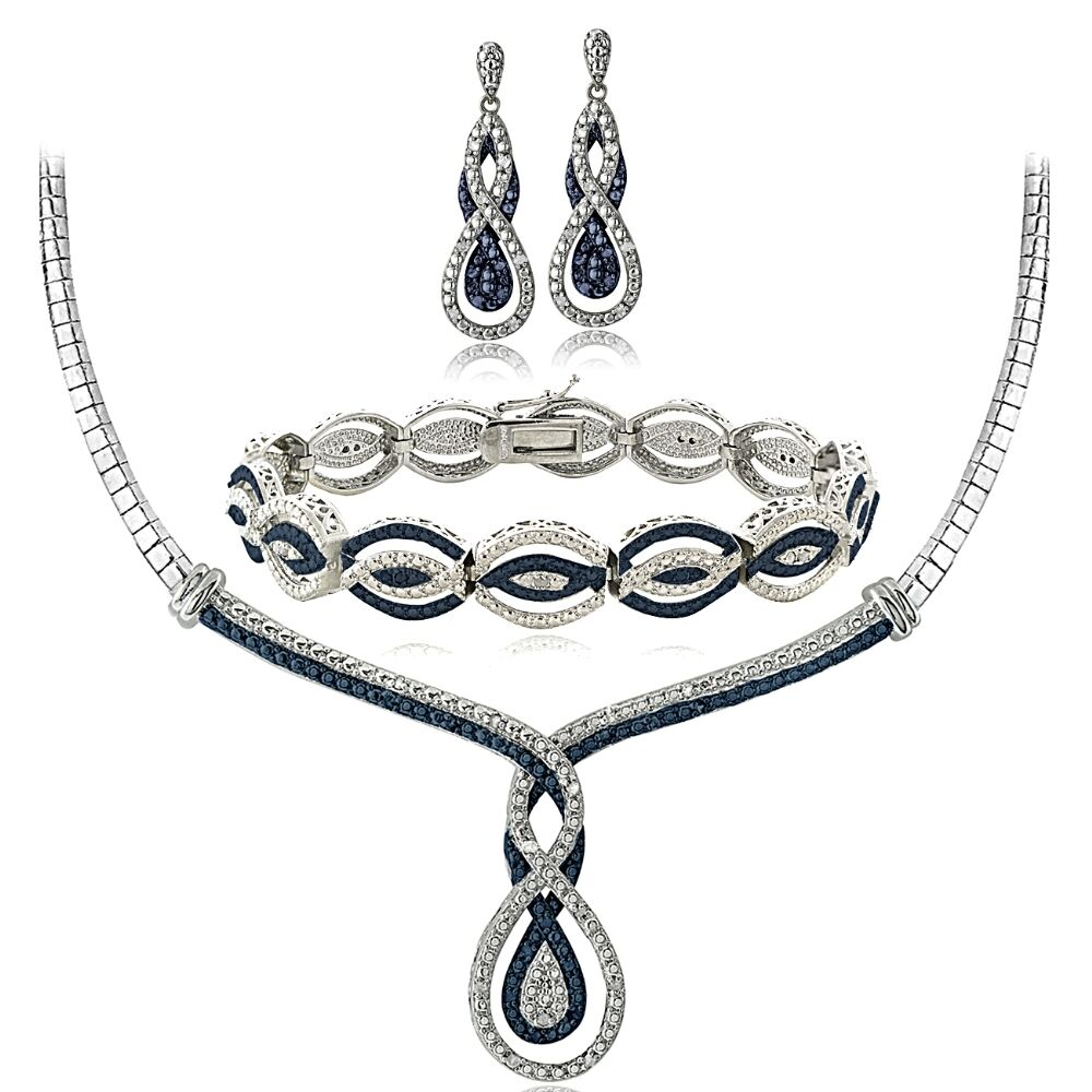 bracelet and earrings sets 3 4 ct blue white infinity necklace bracelet 2172