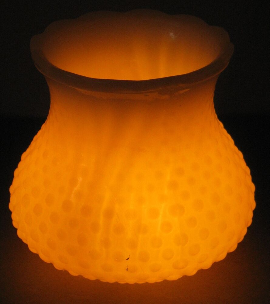 Vintage Electric Fitter Hobnail Opalescent Glass Shade For
