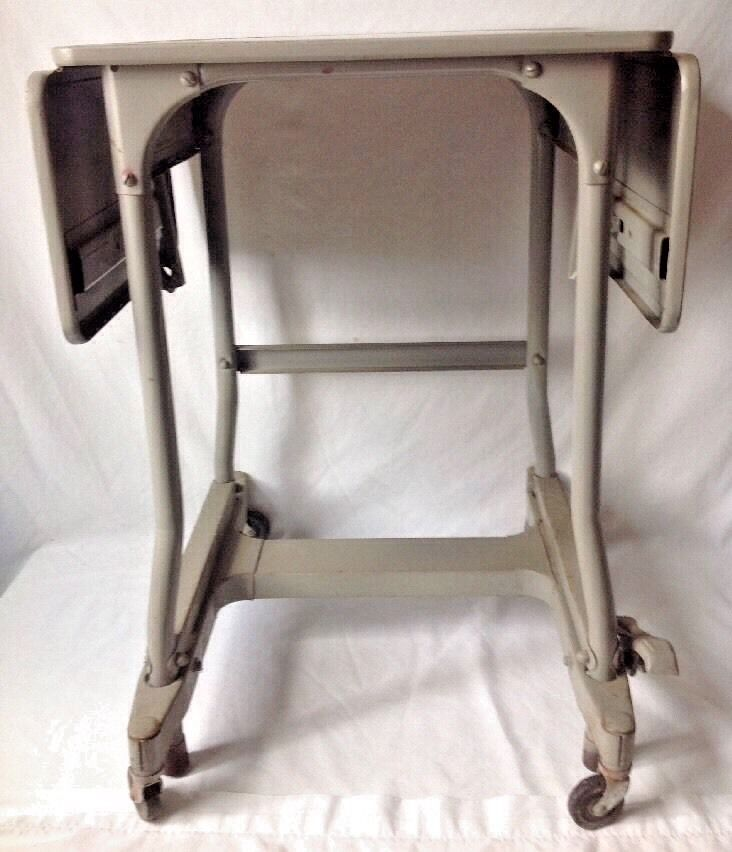 vintage metal typewriter table desk cart locking wheels folding sides industrial ebay. Black Bedroom Furniture Sets. Home Design Ideas