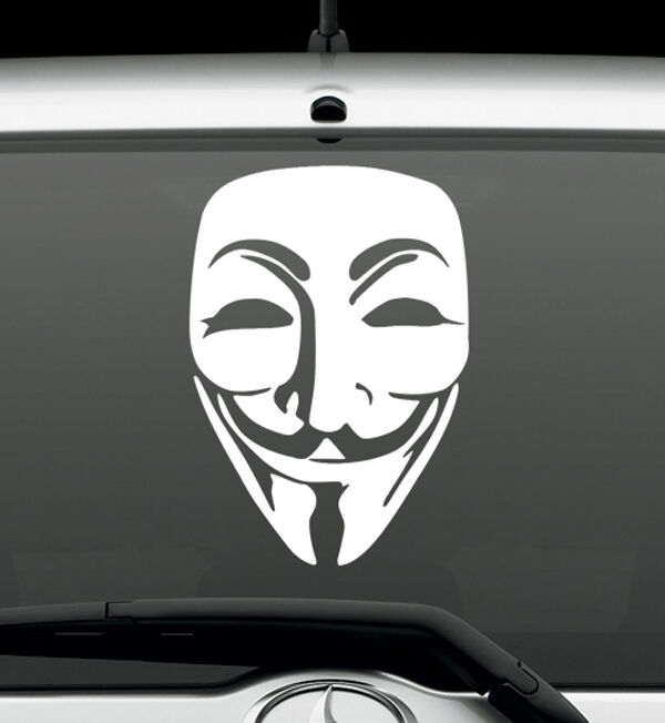 Anonymous mask conspiracy hacker vinyl decal wall sticker Getting stickers off glass