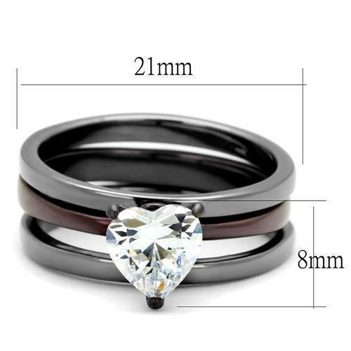 Solitaire heart cz black stainless steel wedding for 3pc wedding ring set