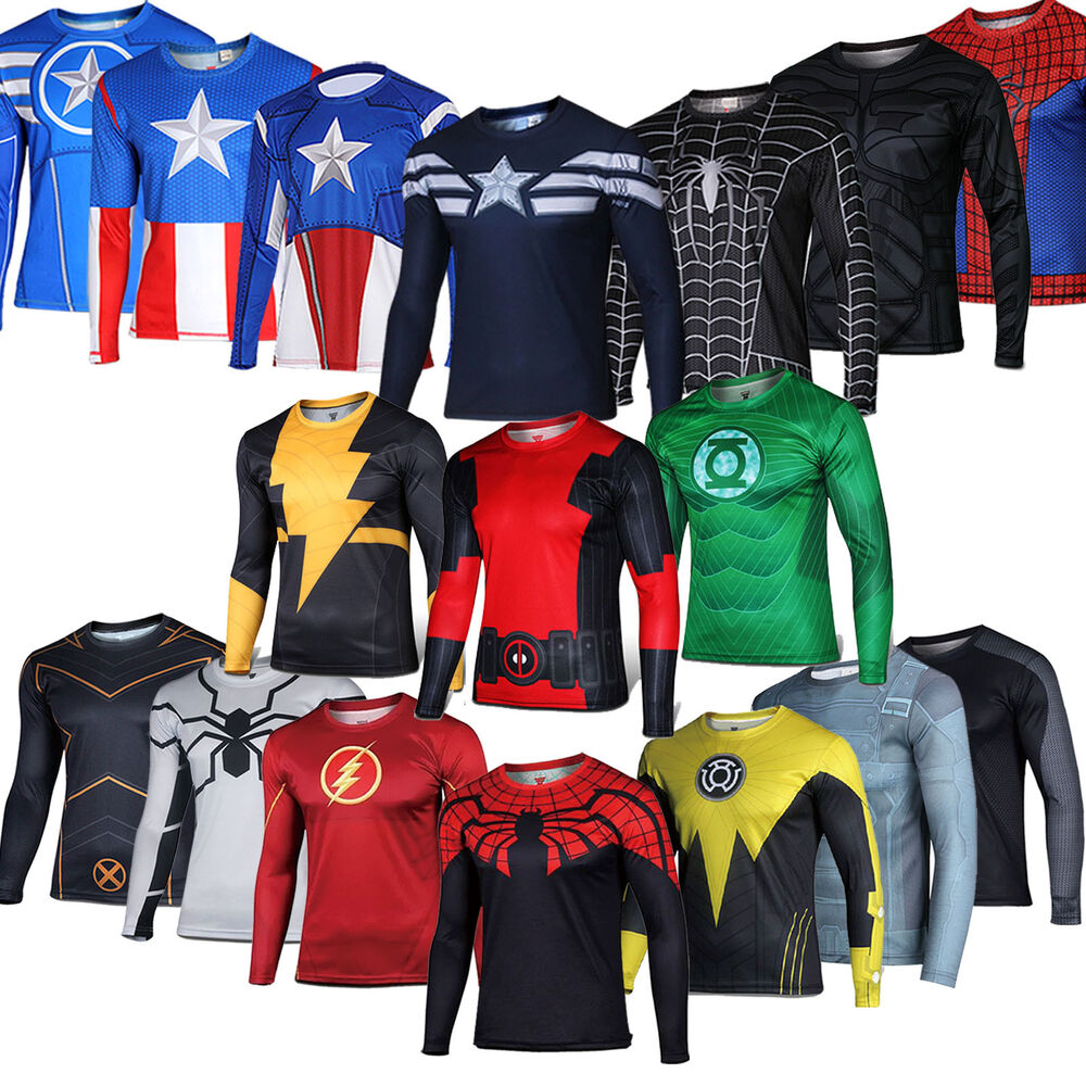 Mens Superhero Extreme Sports Clothes T Shirt Tee Gym ...