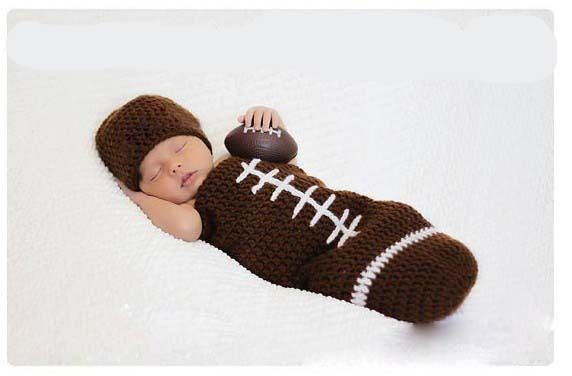 Baby Football Rugby Crochet Knit Hat Sleeping Bags Costume Photography Props ...
