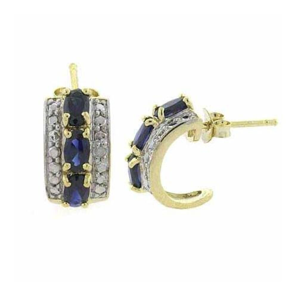 Ct Gold Sapphire And Diamond Accent Flower Stud Earrings