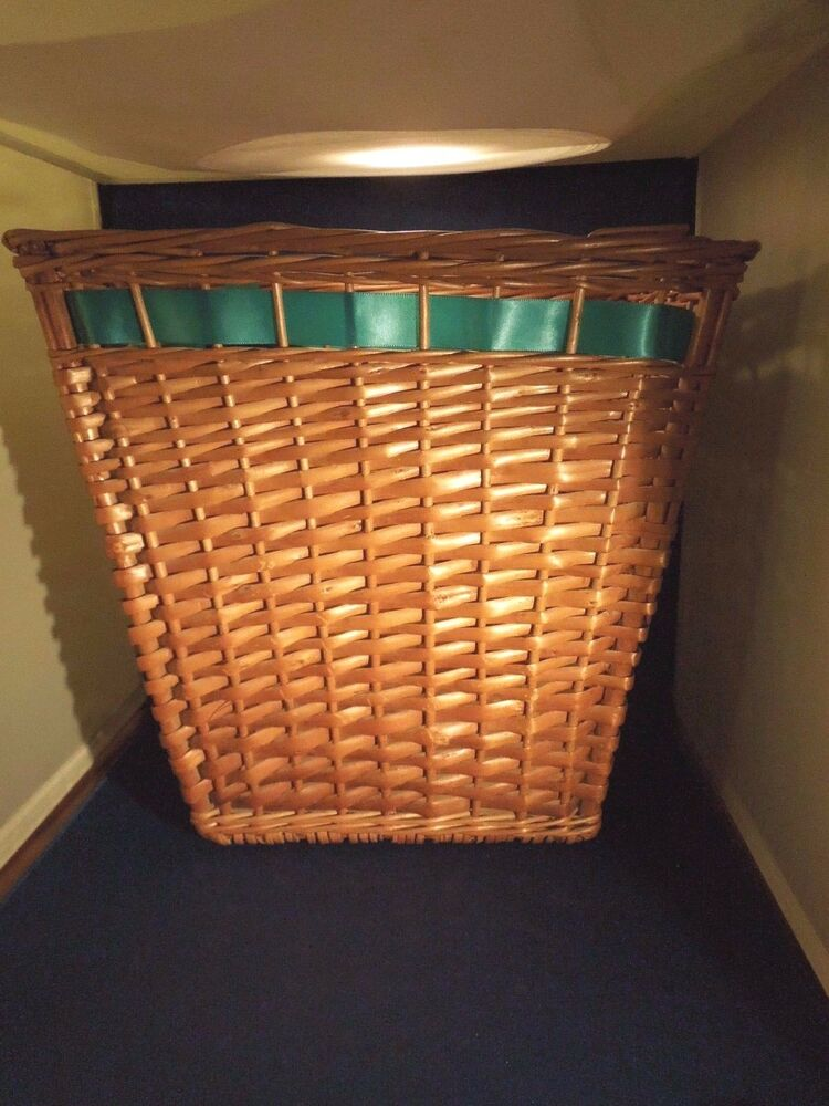 Vintage Woven Wicker Basket With Ribbon Handles Rings