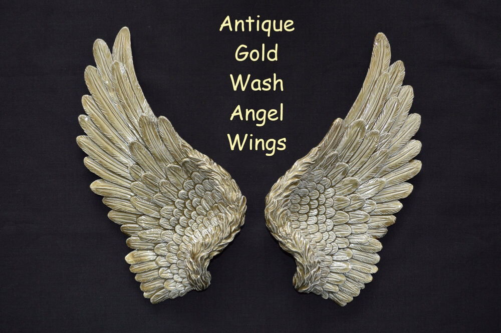Vintage antique shabby chic gold angel wings wall art for Angel wings wall decoration